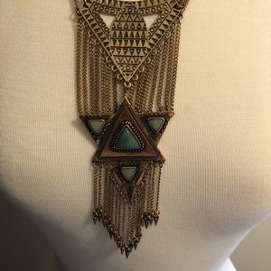 Free People cascading chain Aztec necklace green
